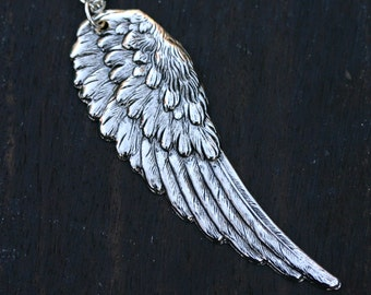 Angel Wing Necklace - Large Silver Feather