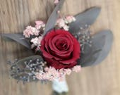 Burgundy Rose Boutonniere   Dried Flower Wedding Boutonnière   The Salina Belle Collection