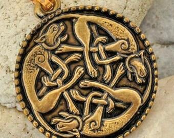 CELTIC KNOTTED CATS Irish Brass Pendant Book of Kells