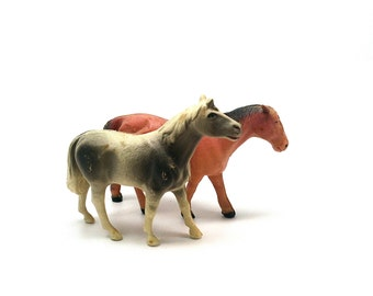 Vintage Celluloid Horses, Farm Animals, Vintage Toys, Putz, Miniature, V Co USA, 1930