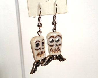 Dia de los Muertos Day of the Dead skull wings earrings