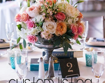 CUSTOM LISTING - 10 Slate Table Numbers and stands for Kristen