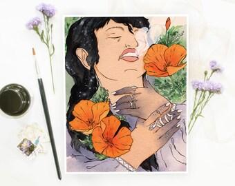 Sleeping Magic Poppy Witch Holographic Illustration Print