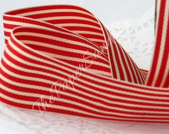 """Red & Ivory Striped Ribbon, 1.5"""" wide"""
