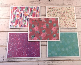 Note Card Set, Note Cards, Thank You Notes, Blank Cards, Set of 5 Note Cards with Matching Envelopes, Floral Note Cards, Elena Rose
