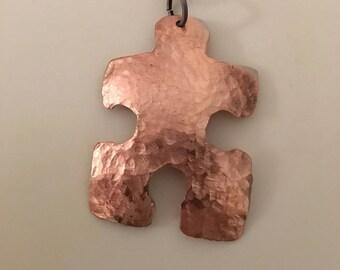 Autism Awareness Copper Puzzle Pendant