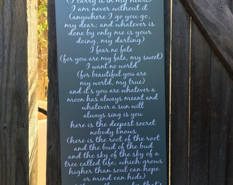 I Carry Your Heart Sign EE Cummings Poem I carry your heart print I carry your heart with me wood sign Wall Art Home Decor Sign & I Carry Your Heart Sign I Carry It In My Heart Wood Sign EE