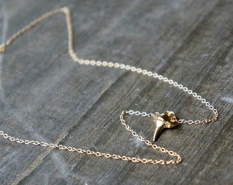 Gold Shark Tooth Necklace / Small Sharks Tooth Pendant on a Gold Filled Chain ... sharp and shiny 18k gold sharks tooth