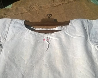 """Rustic Victorian 1850's Linen Dress Unused Handmade French Country Side Red Monogram """"RC"""" Large Rustic Nightgown #SophieLadyDeParis"""
