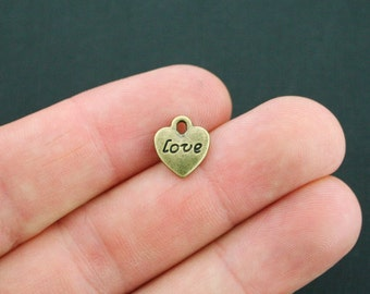 10 Love Heart Charms Antique Bronze Tone 2 Sided - BC1424