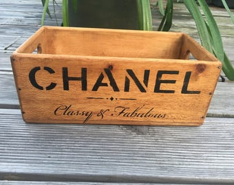 Vintage Chanel Wooden Handcrafted Rustic Storage Box