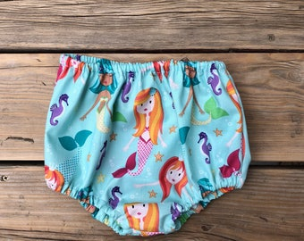 Baby clothes girl Birthday girl bloomer Mermaid one year old girl birthday outfit 12 month party clothes little mermaid birthday outfit kids