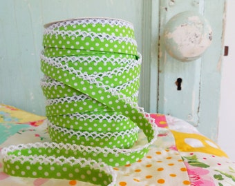 Lime Green Polka Dot Crochet Edge Bias Tape (No. 8).  Sewing Supplies.  Quilt Binding.  Double Fold Bias Tape.