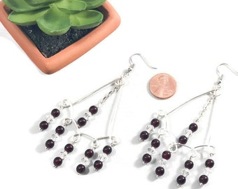 Garnet and Silver Chandelier Earrings / Spanish Earrings / Mexican Earrings