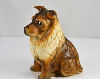 Collie Dog Figurine - Shetland Sheepdog - Japan Lifelike Figure - Big Eyed Dog - Vintage