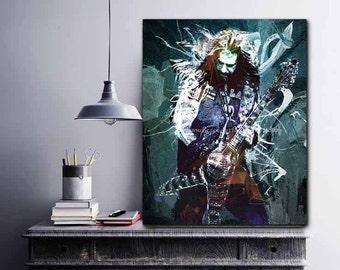 Heavy Metal Decor, Guitar Original Art Print, Heavy Metal Guitar, Metal Guitar Player, Hard Rock n Roll Poster, Wild Spirit, Free Spirit