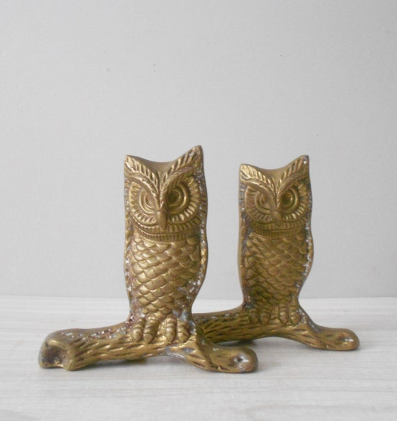 vintage solid brass owl on a branch paperweight / owl on a log