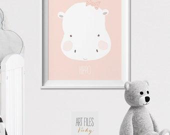 Hippo Nursery print, Nursery wall art, Safari Nursery, poster, pastel, Kids room, Wall art, Poster Nursery Decor, ArtFilesVicky