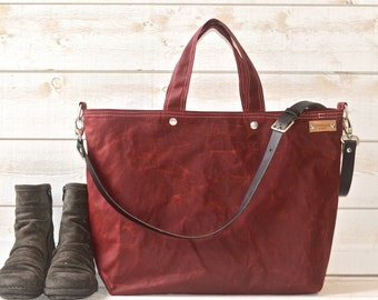 Diaper bag, Waxed canvas bag,Gift for Wife, Messenger bag, Gift for her, Tote bag, Bordeaux tote bag, work bag, Gift for mom, gift for him