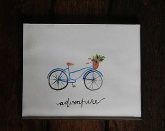 Adventure Awaits/Quote/Bicycle/Flowers/Basket/Black/Watercolor painting/8x10/Print