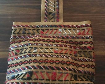 Vintage 1980s ethnic embroidered / woven burlap/ jute satchel