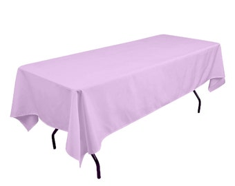 Nice Solid Table Cloth Durable Thick Polyester Machine Washable, Dining Room  Holiday Decor Lavender