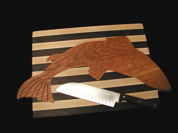 Custom Unique Custom Handmade Inlayed Salmon Rectangle Cutting Board