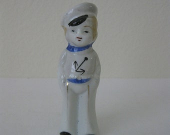 Vintage 1940s Bisque Sailor Boy Figurine - Made in Japan