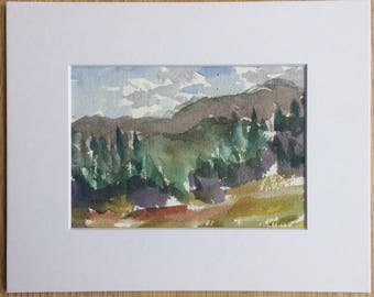 Original gouache landscape painting plein air New Hampshire White Mountains - includes mat