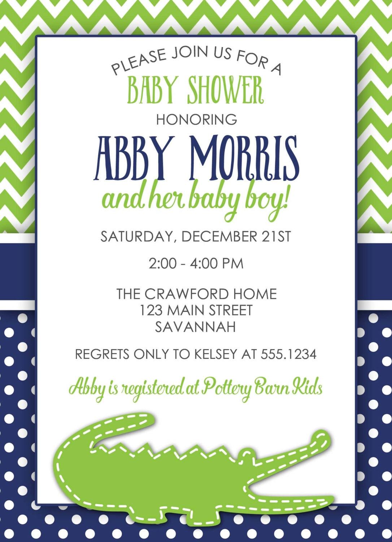 Alligator Baby Shower Invitation, Alligator Invitation, Preppy Baby ...