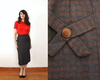 50s Skirt / 1950s Skirt / 1950s High Waist Waisted Wool Brown and Black Blue Scale Print Pattern Pencil Skirt Hip Details Skirt