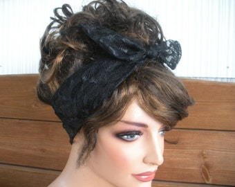 Womens Headband Dolly Bow Headband Summer Accessories Women Head scarf Headwrap Lace Headband in Black - Choose color