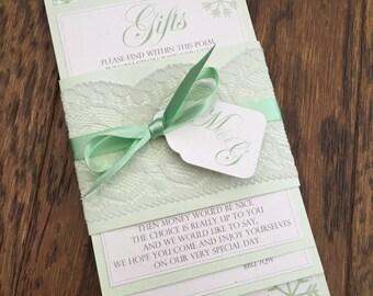 Luxury Lace | Personalised Narrow Wedding Invitation Bundle