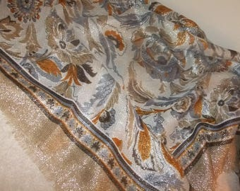 Scarf Large Square Made in Italy Neutral Colors with Fringed Edge Polyester/Lurex  #32