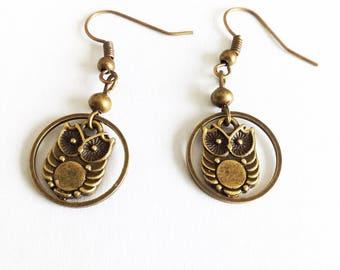 DESTASH earrings bronze OWL / OWL