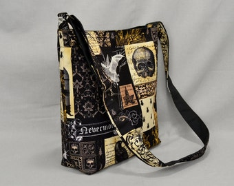 Large Crossbody Bag Nevermore Gothic Antique with Bats Owls Skulls, Fabric Canvas Shoulder Bag, School Work Book Bag, Black Sepia Brown