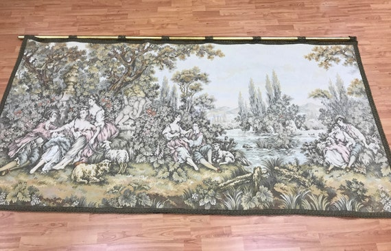 """4'2"""" x 8'2"""" French Hanging Tapestry - 1970s - Perfect Condition - Hand Made"""
