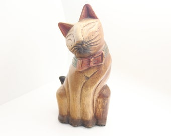 Vintage Wooden Cat ca 1930s - Handcarved Wood Cat Statue ca 1930s - standing ca 23cm tall