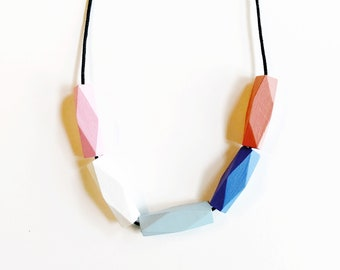 Handpainted Wooden Bead necklace | Summer palette | READY TO SHIP
