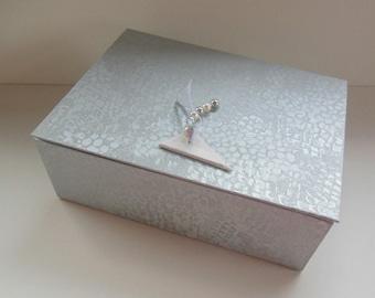 LARGE jewelry - large jewelry box - silver and white box