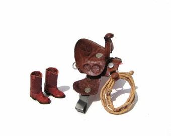 Cowboy Western Dollhouse Leather Horse Saddle Boots 1:12 Scale Miniatures 1990s Vintage