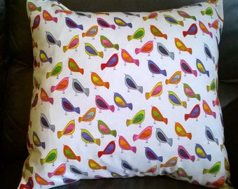 """SALE **Sweet Tweet by Alexander Henry cushion cover 16 """" × 16 """" Multicoloured Birds WAS 8.99 NOW 6.99"""