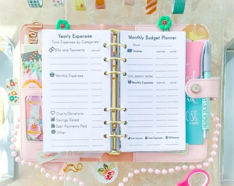 Personal Planner Printables Monthly Budget and Yearly Balance Bill Organizer Financial Planner Filofax Personal Inserts Budget Planner PDF