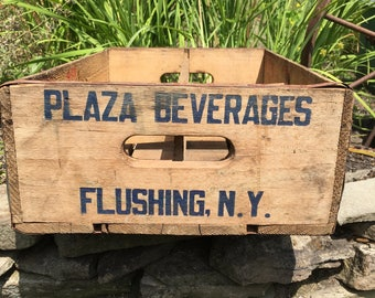 Vintage Beverage Crate Plaza Beverages Wooden Crate Advertising Box Wooden New York Advertising Plaza Beverage Wood Crate Flushing New York