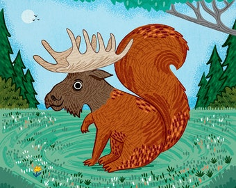 The Squoose - squirrel / moose - art poster print by Oliver Lake - iOTA iLLUSTRATiON