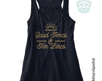 GOOD TIMES & TAN Lines, Flowy racerback tank,fitness,gym,workout,yoga,pilates,barre,,sand,,tan lines Good times