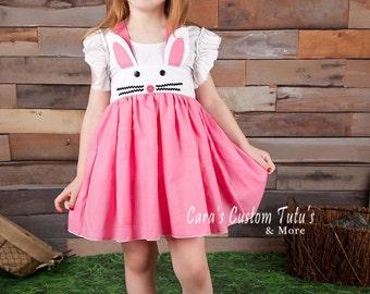 Bunny Suspender Skirt, Girls Easter Dress, Girls Spring Dress, Bunny Dress, Bunny Birthday Party, Costume Dress, Girls Dress, Easter Bunny