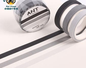 7mm Slim Black Gray Washi Tape Set, Cool colors Masking Tape, Scrapbooking Stickers