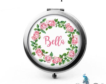 Custom Compact Mirror Watercolor Style Pink Roses Floral Wreath The Bella Bridesmaid Gifts Cosmetic Mirror Personalized Gifts