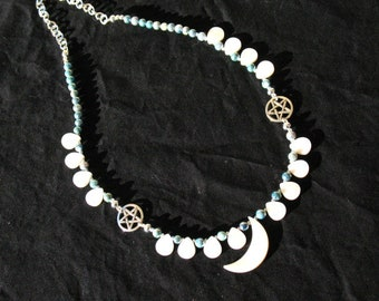 Crescent Moon and Mermaid's Tear Necklace with Pearls and Pentacles~Adjustable from 19.5 to 21.5 inches~Ocean Goddess
